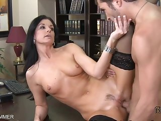 Pantyhose Dressed In India Summer Gets Beaver Eaten On A Desk